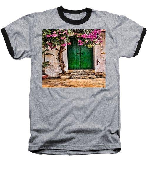 The Green Door Baseball T-Shirt by Rod Jellison