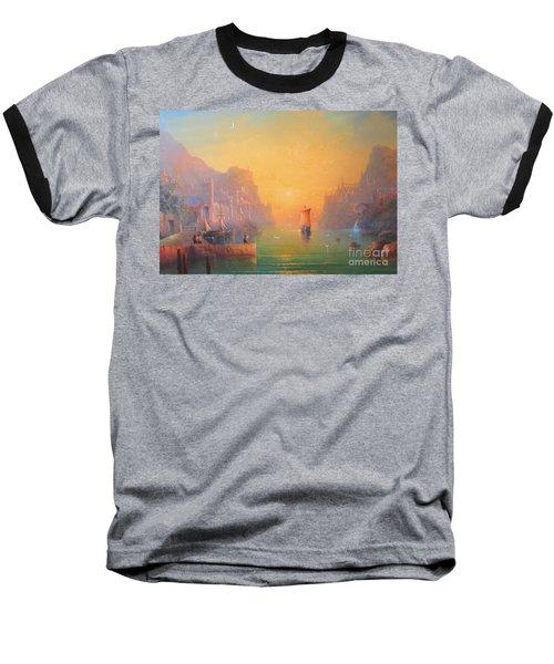The Grey Havens. The Gulls Lament.  Oil On Canvas Baseball T-Shirt by Joe  Gilronan