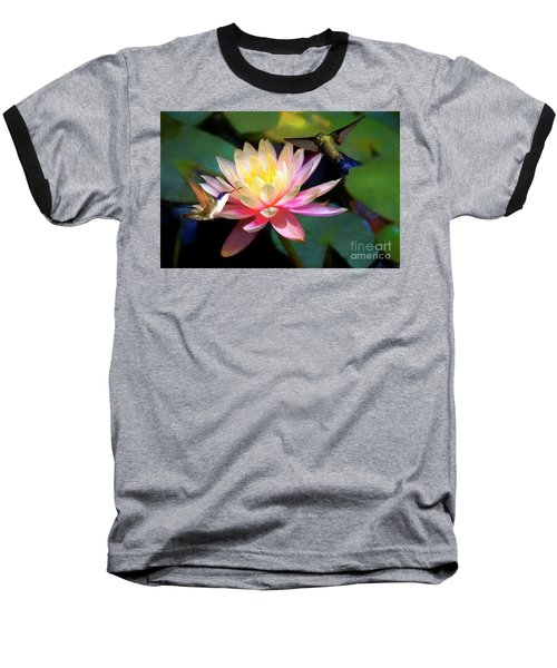 The Grutas Water Lillie With Hummingbirds Baseball T-Shirt by John Kolenberg
