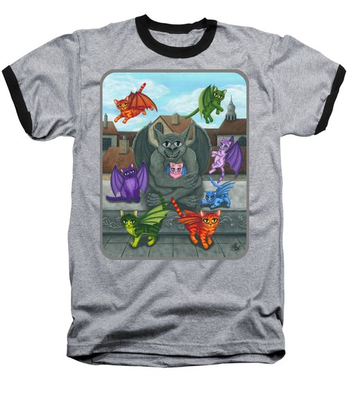 The Guardian Gargoyle Aka The Kitten Sitter Baseball T-Shirt by Carrie Hawks