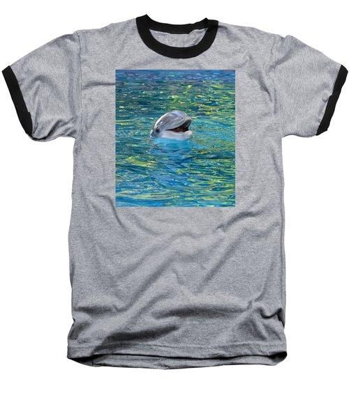 The Happy Dolphin Baseball T-Shirt by Nikki McInnes