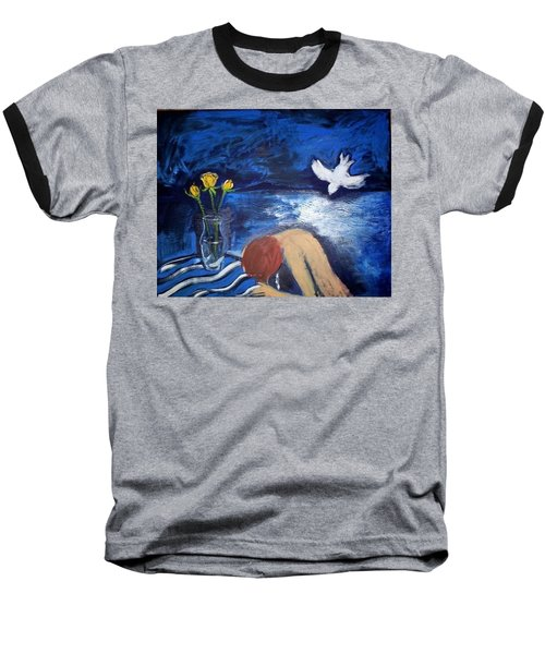 Baseball T-Shirt featuring the painting The Healing by Winsome Gunning
