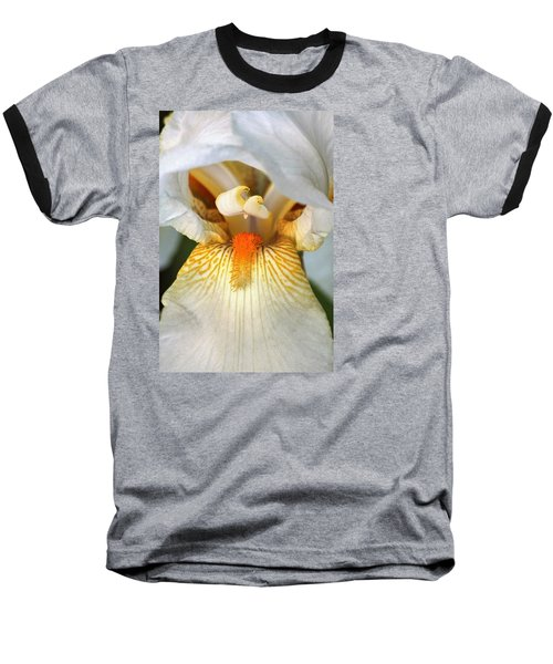 Baseball T-Shirt featuring the photograph The Heart Of A Bearded Iris by Sheila Brown