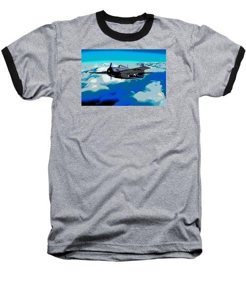 The High Flight Of A Grumman F4f Wildcat Baseball T-Shirt by Wernher Krutein