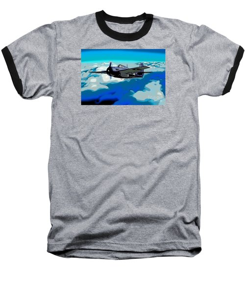 The High Flight Of A Grumman F4f Wildcat Baseball T-Shirt