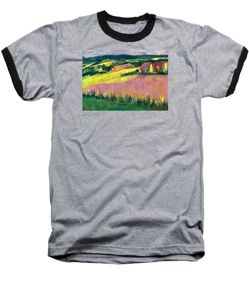 Baseball T-Shirt featuring the painting The Hills Are Alive by Betty Pieper