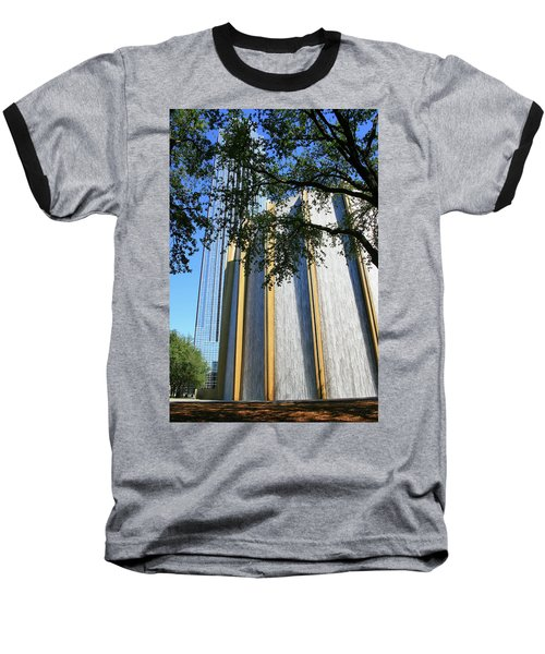 The Houston Water Wall And Williams Tower Baseball T-Shirt