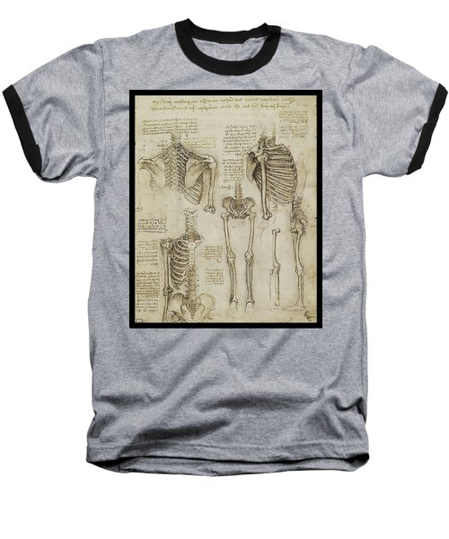 Baseball T-Shirt featuring the painting The Human Ribcage by James Christopher Hill