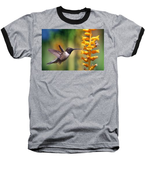 Baseball T-Shirt featuring the photograph The Hummingbird And The Bee by William Lee