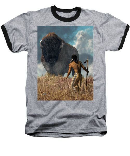 The Hunter And The Buffalo Baseball T-Shirt