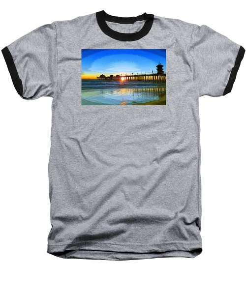The Huntington Beach Pier Baseball T-Shirt by Everette McMahan jr