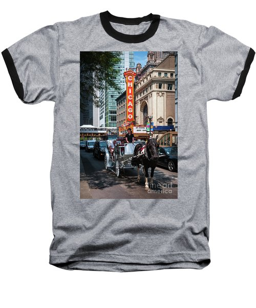 The Iconic Chicago Theater Sign And Traffic On State Street Baseball T-Shirt
