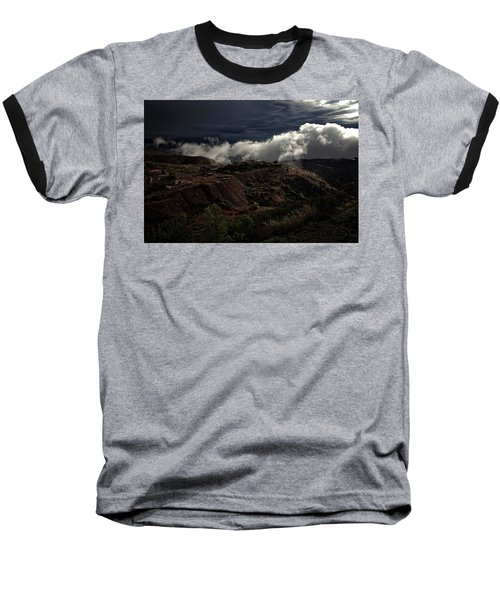 Baseball T-Shirt featuring the photograph The Jerome State Park With Low Lying Clouds After Storm by Ron Chilston