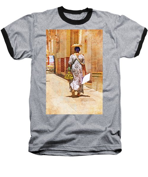 Baseball T-Shirt featuring the photograph The Jewelry Seller - Malaga Spain by Mary Machare