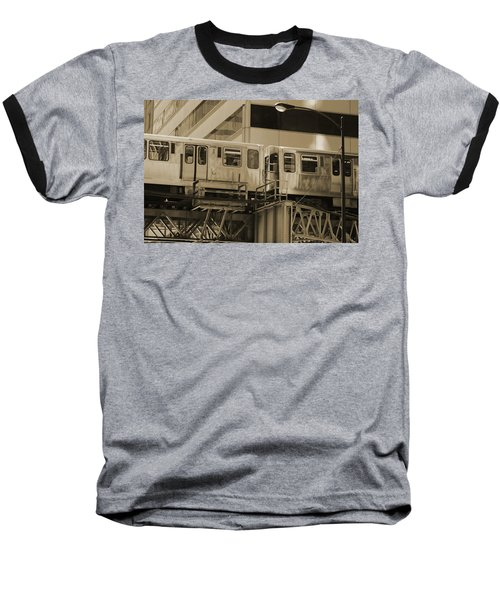 The L Downtown Chicago In Sepia Baseball T-Shirt