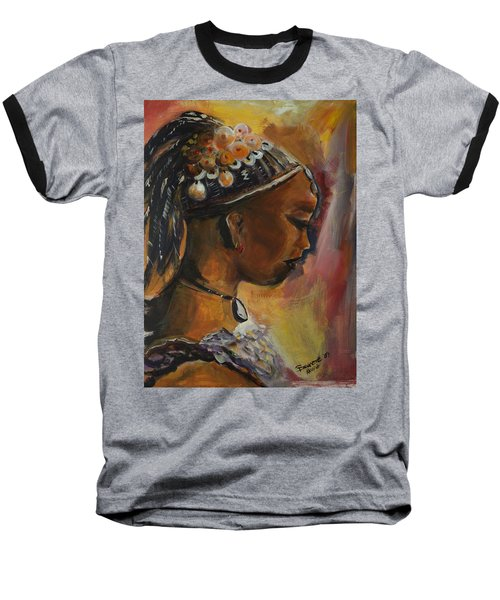Baseball T-Shirt featuring the painting The Lady by Bernadette Krupa
