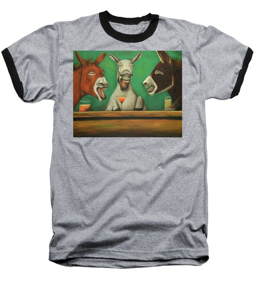 Baseball T-Shirt featuring the painting The Laughing Donkeys by Leah Saulnier The Painting Maniac