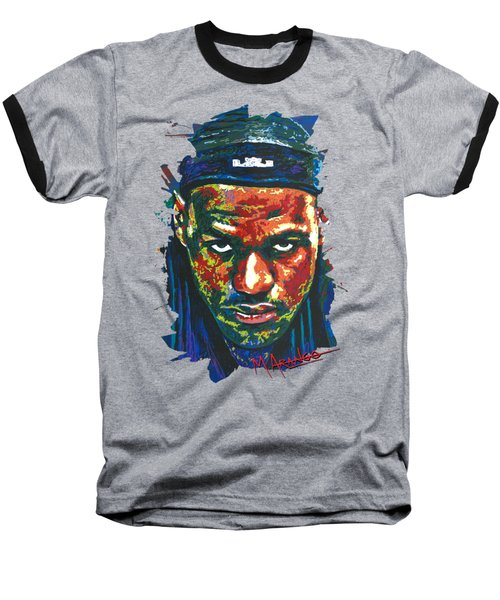 The Lebron Death Stare Baseball T-Shirt by Maria Arango