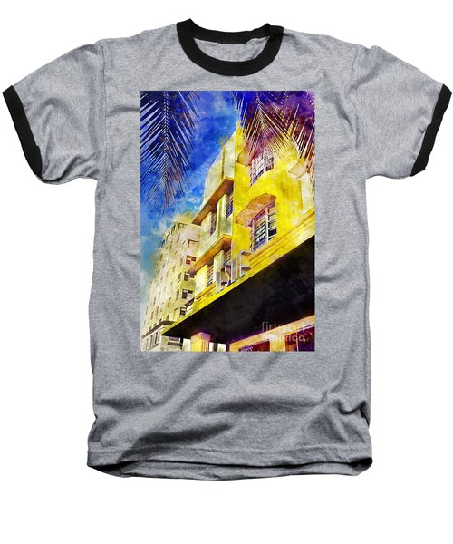 The Leslie Hotel South Beach Baseball T-Shirt by Jon Neidert