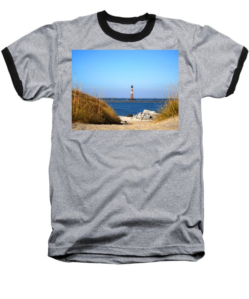 The Lighhouse At Morris Island Charleston Baseball T-Shirt by Susanne Van Hulst