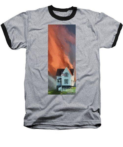Baseball T-Shirt featuring the digital art The Lighthouse Keeper's House by Lois Bryan