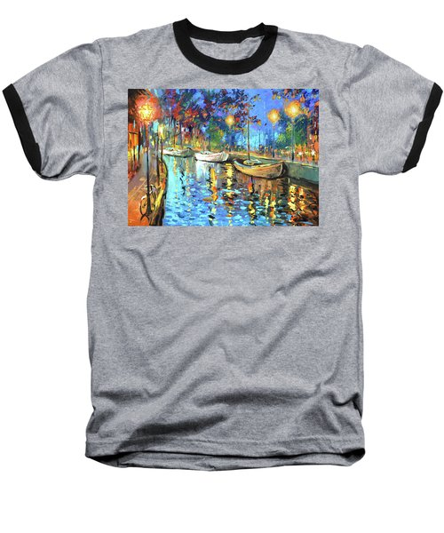 Baseball T-Shirt featuring the painting The Lights Of The Sleeping City by Dmitry Spiros