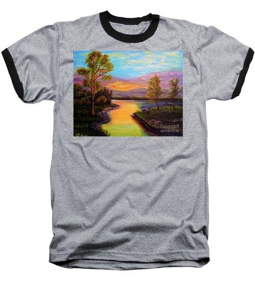 The Liquid Fire Of A Painted Golden Sunset Baseball T-Shirt by Kimberlee Baxter