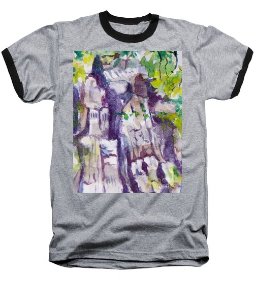 The Little Climbing Wall Baseball T-Shirt by Jan Bennicoff