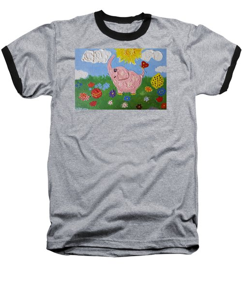 Little Pink Elephant Baseball T-Shirt