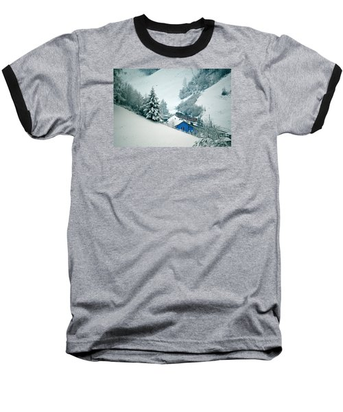 Baseball T-Shirt featuring the photograph The Little Red Train - Winter In Switzerland  by Susanne Van Hulst