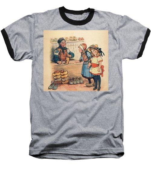 The Little Wooden Shoe Maker Baseball T-Shirt by Reynold Jay