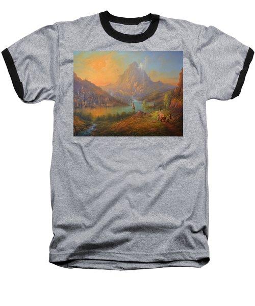 The Lonely Mountain Smaug Baseball T-Shirt by Joe  Gilronan