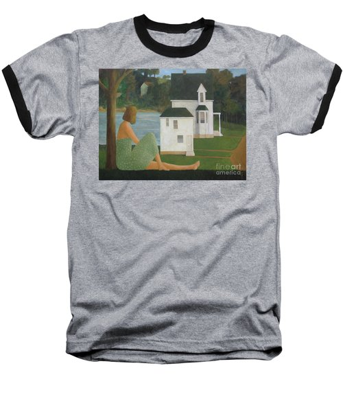 Baseball T-Shirt featuring the painting The Lonely Side Of The Lake by Glenn Quist