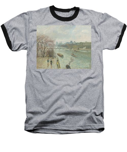 The Louvre, Afternoon, Rainy Weather, 1900  Baseball T-Shirt