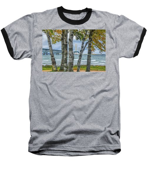 The Mackinaw Bridge By The Straits Of Mackinac In Autumn With Birch Trees Baseball T-Shirt