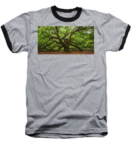 The Magical Angel Oak Tree Panorama  Baseball T-Shirt by Michael Ver Sprill