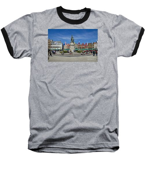 Baseball T-Shirt featuring the photograph The Markt Of Bruges by Pravine Chester