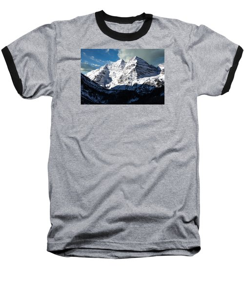 These Twin Peaks Outside Aspen Are Called The Maroon Bells  Baseball T-Shirt by Carol M Highsmith