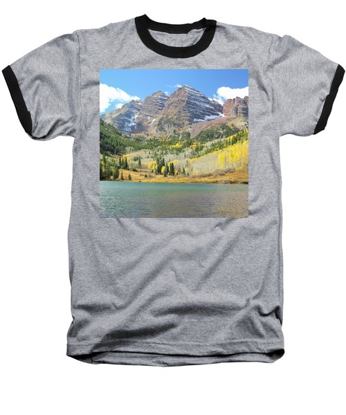 The Maroon Bells 2 Baseball T-Shirt by Eric Glaser