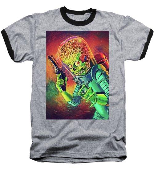 The Martian - Mars Attacks Baseball T-Shirt by Taylan Apukovska