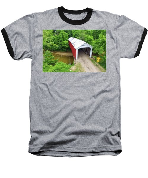 Baseball T-Shirt featuring the photograph The Mcallister Covered Bridge - Ariel View by Harold Rau