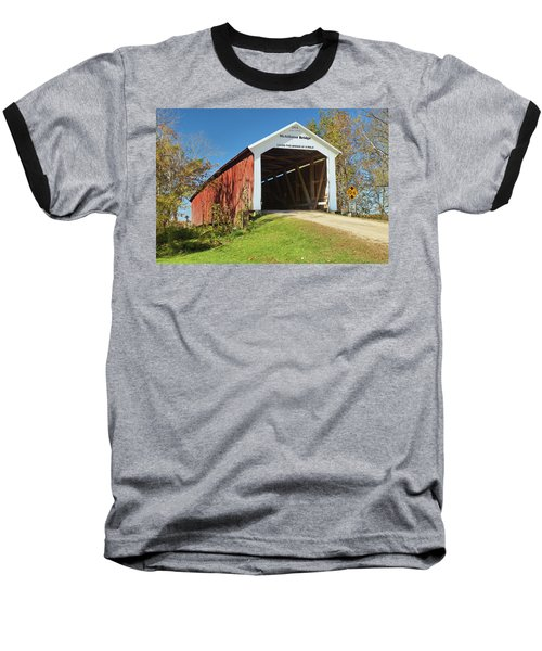 The Mcallister Covered Bridge Baseball T-Shirt by Harold Rau