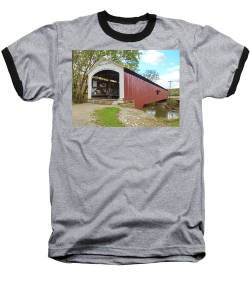 Baseball T-Shirt featuring the photograph The Mecca Covered Bridge by Harold Rau