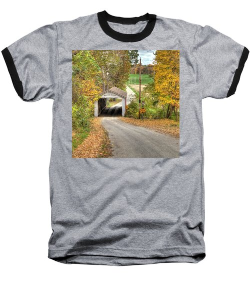 Baseball T-Shirt featuring the photograph The Melcher Covered Bridge by Harold Rau