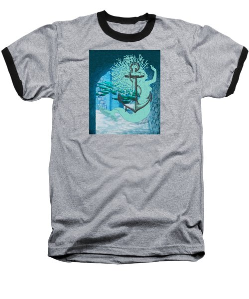 The Mermaid The Anchor And School Of Fish In The Underwater Ruins Baseball T-Shirt by Sandra McGinley