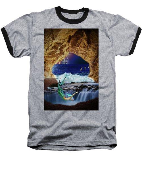 Baseball T-Shirt featuring the digital art The Mermaids Secret Lair by John Haldane