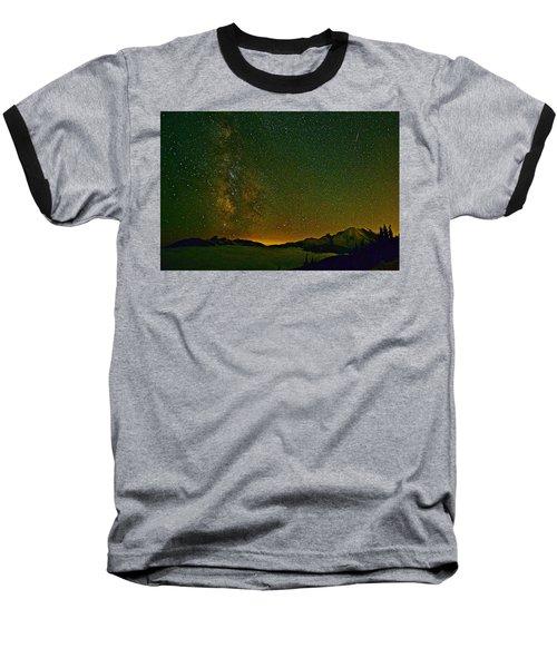 The Milky Way And Mt. Rainier Baseball T-Shirt