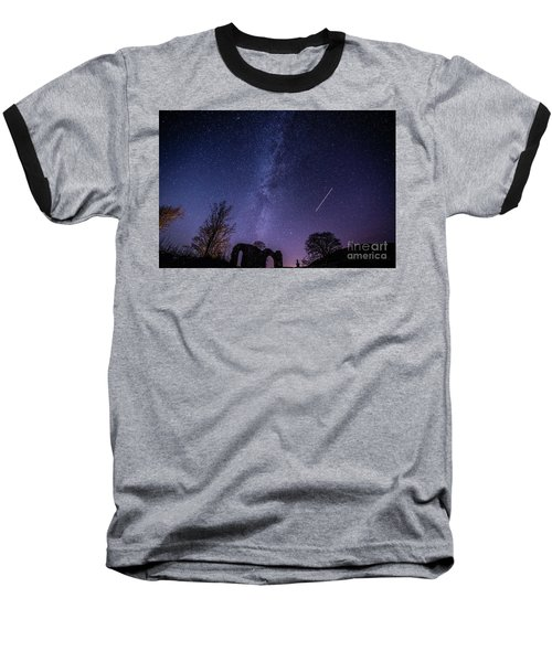 The Milky Way Over Strata Florida Abbey, Ceredigion Wales Uk Baseball T-Shirt