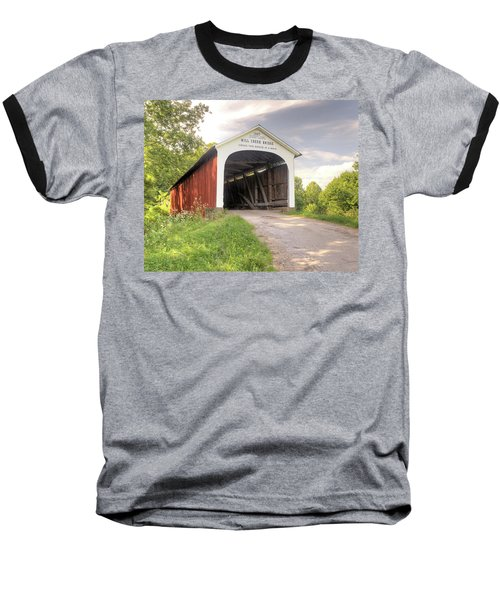 Baseball T-Shirt featuring the photograph The Mill Creek Covered Bridge by Harold Rau