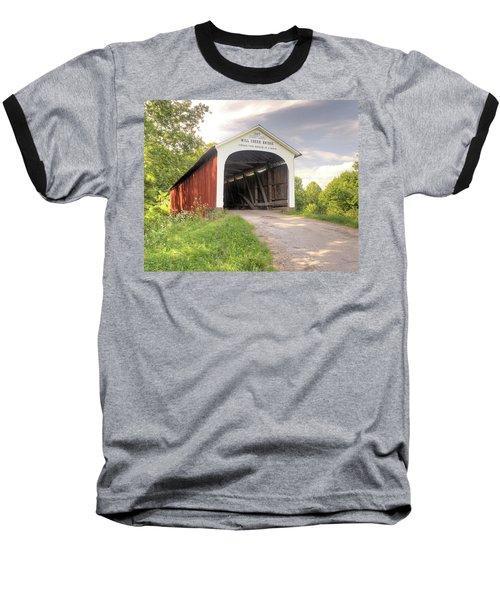 The Mill Creek Covered Bridge Baseball T-Shirt by Harold Rau